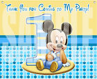 "Mickey Mouse 1st Birthday Party Blue Banner Matte Vinyl 30""x24"" [2.5' x 2' feet]"
