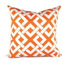 Orange Outdoor Pillow, Geometric Throw Pillow, Boxed In Orange and White Pillow