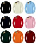 New Mens Comfort Easy Care Long Sleeve Neck Line Polo Shirts Tops.(Sz) XS~XL