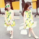 Family Clothes Mother Daughter Dresses Womens Kids Girls Lemon Print Mini Dress