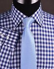 Blue Gingham Check Formal Dress Business Shirt French / Button Cuff Wrinkle Free
