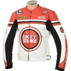 LUCKY STRIKE RED, YELLOW, WHITE Motorcycle LEATHER Jacket Trouser Pant 2 Pc SUIT