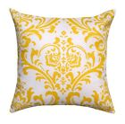 Yellow Modern Pillow, Traditions Corn Yellow Damask Decorative Throw Pillow