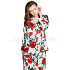 Women Silk Satin Pajamas Set  Pyjamas Set Sleepwear Loungewear XS~3XL Plus Size