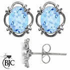 BJC® 9ct White Gold Natural Blue Topaz Single Stud Earrings Studs 1.50ct