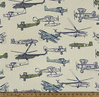 Premier Prints Vintage Air Felix Natural Old Airplane Fabric - By the Yard