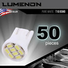 50 x T10 Wedge 8-SMD 6k White 5050 Led light bulbs w5w 2825 158 192 168 194 501