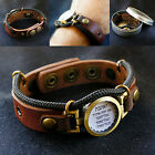 """Hebrew """"Love the Lord your God"""" Bracelet, Antique Bronze, Genuine Leather"""