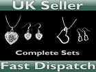 Necklace and Earring Sets - Caged Heart or Flat Heart sets - UK Seller!