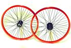 """RED  Microdrive BMX Wheels: 20"""" Pair 9T tooth micro drive, !! 14mm rear axle"""