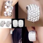 #E590A Fashion Lady CLIP ON EARRINGS Huggie Crystal C Curve Party Everyday Women