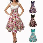 Vintage Style 60s Women's Floral Swing Ball Gown Pinup Evening Party Prom Dress
