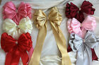"""Bouquet, Xmas, Chair Sash, Large 8"""" Satin Ribbon bow with tails jeweled centre"""