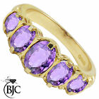 BJC® 9ct Yellow Gold Victorian / Gypsy Style Graduating Amethyst 5 Stone Ring