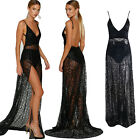 Sexy Women Sheer Lace Maxi Dress Party Evening Cocktail Club V Neck Long Dress C