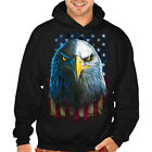 New Men's Eagle Stare US Flag Black Hoodie Solid Sweater American Patriotic