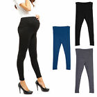 Womens Prenancy Full Ankle Over Bump Leggings Adjustable High Waist Belly Pants