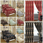 Luxury 3 Piece Jacquard Quilted Bedspread Comforter Set + Matching Ring Curtains
