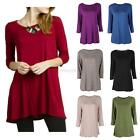 Fashion Womens Casual Top Blouse Boat Neck 3/4 Sleeve Loose Tunic Long T-Shirt