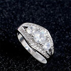 White topaz Silvr 18k white gold filled Women Wedding Ring Jewellry Size 7/8/9