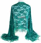GFM Vintage Style with Roses Pattern Lace and Tassels Scarf