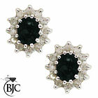 BJC® 9ct Yellow Gold Natural Sapphire & Diamond Cluster Stud Earrings Studs ER30