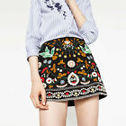 Sexy Ethnic Colorful Flowers Embroidery Slim A-Line High Waist Mini Short Skirt