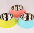 New Stainless Steel Dog Cat Puppy Bowl Food Water Feeding Dish Non Slip