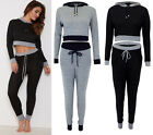 Women Contrast Waist Loungewear Suit Sweatshirt Crop Hooded Top Bottom Tracksuit