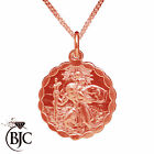 BJC® 9ct Rose Gold St Saint Christopher Pendant / Medallion Travel Necklace