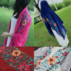 Women Large Embroidered Cotton&Linen Floral Scarf Pashmina Shawl Muslim Turban