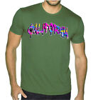 New Men's California Neon Graffiti Military Green T Shirt 90's Street Paint Tee image