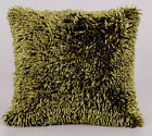 STYLISH DESIGNER FILLED CUSHION SOFT PILE SHAGGY LOOP CHENILLE LIME GREEN COLOUR