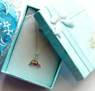 """Baby Boy Sterling silver Little Bubble Car necklace 14""""in Christening Birthday"""