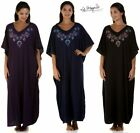 Ladies Womens Full Length Floral Embroidered Jersey Kaftan By La Marquise 9984