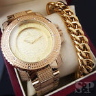 MEN HIP HOP ICED OUT GOLD PT WATCH & STAINLESS STEEL CUBAN BRACELET COMBO SET  image