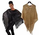 New Women Batwing Cape Sequined Knit Poncho Top Cardigan Pullover Black/Gold