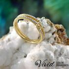 Round Cut Diamond Engagement Ring Size 7 14k Solid Gold 1.1 CT VVS F-G Enhanced