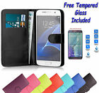 Wallet Flip Leather Book Case Cover For Samsung Galaxy J1 + Free Tempered Glass