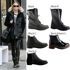 NEW LADIES WOMENS FLAT BLOCK HEEL BIKER CHELSEA MILITARY ANKLE BOOTS SHOES SIZE