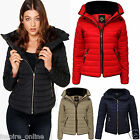 LADIES WOMENS QUILTED PADDED PUFFER BUBBLE FUR COLLAR WARM THICK JACKET COATS