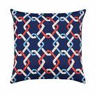 Nautical Accent Pillow, Cape Cod Sailor Outdoor Throw in Red Ivory Blue Navy Tan