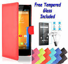 Wallet Flip PU Leather Book Cover Case For Sony Xperia Z1 + Free Tempered Glass