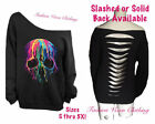 Melting Skull Off Shoulder Black Sweatshirt S M L XL Plus Size 1X 2X 3X 4X 5X