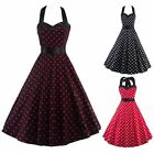 Womens Vintage Retro Style Polka Dot Halter Backless Summer Flared Dress