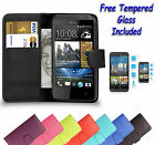 Wallet Flip Book Leather Cover Case Holder For HTC Desire 610 + Tempered Glass