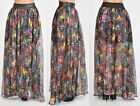 FAUX LEATHER ELASTIC WAIST BAND PRINTED MAXI SKIRT WITH POCKETS