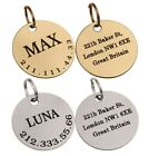 Personalized Dog ID Tag Custom Engraved Brass Steel Round Double Sided Pet Name