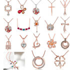 Fashion Women Jewelry Rose Gold Butterfly Cross Crystal Pendant Necklace Gift