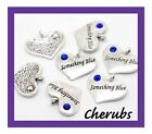 4 5 10 OR 20 PCS SILVER TONE RHINESTONE 'SOMETHING BLUE' HEART CHARMS No132
